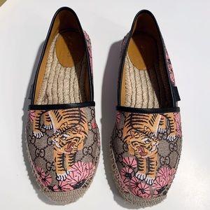 GUCCI GG Monogram Tiger Espadrilles Shoes 39 / 9